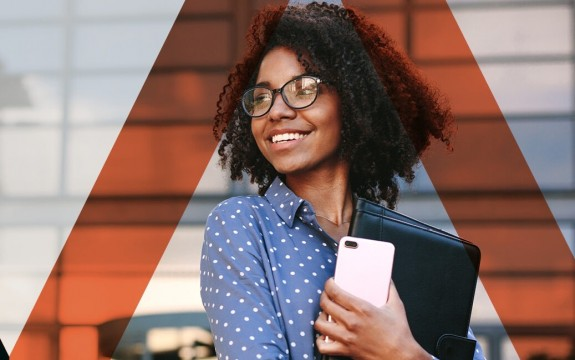 Young african american woman smiling holding folder and phone