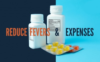 reduce fevers and expenses infographic with pill bottles