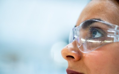 Female Scientist wearing goggles