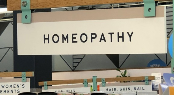Homeopathy sign in a store
